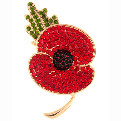 Red Green Black Crystal and Gold Poppy Flower with Leaf Brooch