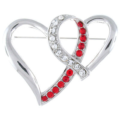 Silver and Red and Clear Crystal Double Heart Brooch