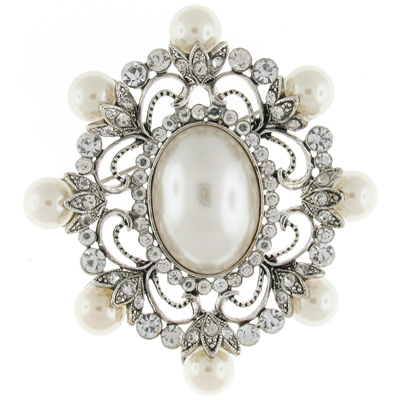 Large Silver Pearl & Crystal Oval Victorian Corsage Bridal Brooch