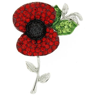Red Crystal and Silver Poppy Flower with Leaf Brooch