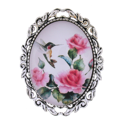 Vintage Pink Rose Flower and Hummingbird Glass Cameo Oval Brooch