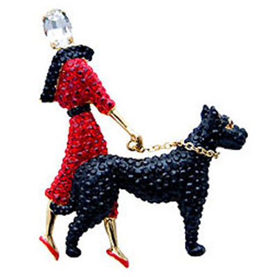 Butler and Wilson Large Crystal Lady and Dog Brooch Red
