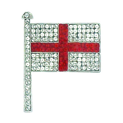 Butler and Wilson Small Crystal English Flag Brooch