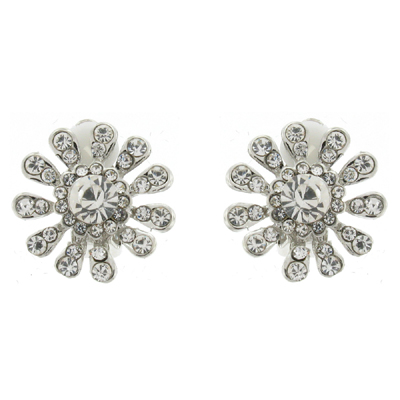 d0f554feb Silver and Clear Crystal Flower Snowflake Clip On Earrings