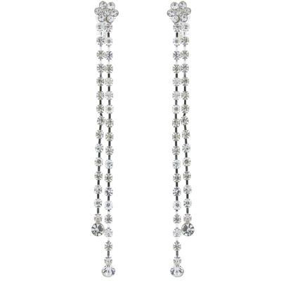 Diamante Crystal Flower Drop Clip On Earrings