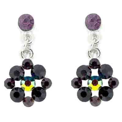 Amethyst Crystal Flower Drop Clip On Earrings