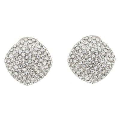 Long Four Row Cascading Diamante Crystal Drop Clip On Earrings