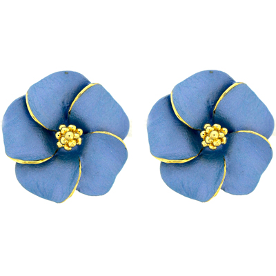 Large Pastel Blue and Gold Plated Flower Clip On Earrings