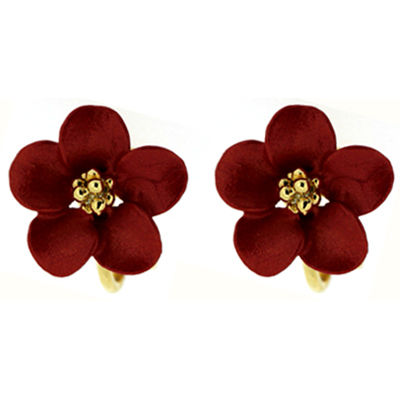 Petite Red & Gold Plated Delicate Flower Clip On Earrings