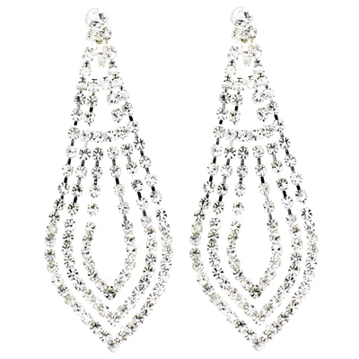 Long Triple Row Tear Drop Diamante Crystal Clip On Earrings