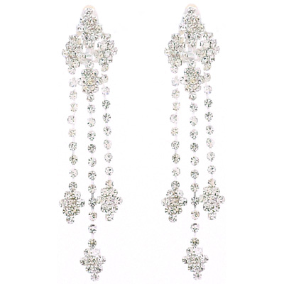 Large Diamante Crystal Long Diamond Drop Clip On Earrings