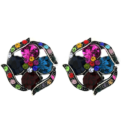 Multicoloured Crystals Swirl Flower Clip On Earrings