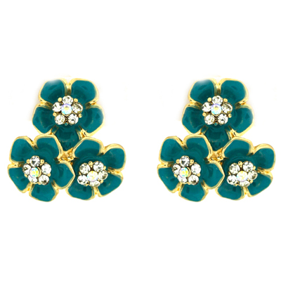 Teal Enamel & Crystal Triple Daisy Flower Clip On Earrings