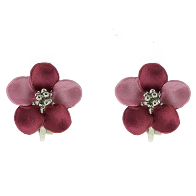 Petite Silver Plated Matt Lavender Pink Daisy Flower Clip on Earrings
