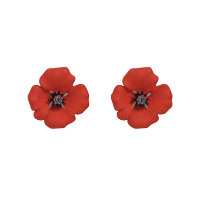 Small Red Enamel and Swarovski Crystal Passion Poppy Clip On Earrings