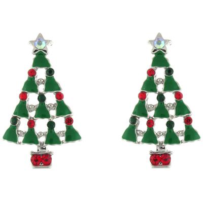Enamel & Swarovski Crystal Christmas Tree Brooch