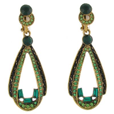 Peridot Green Crystal Open Teardrop Vintage Clip on Earrings