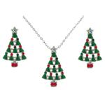 Enamel & Crystal Santa Sleigh with Christmas Tree Brooch