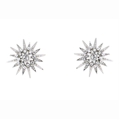 47f322bb9 Swarovski Crystal & Silver Plated Starburst Snowflake Stud Earrings