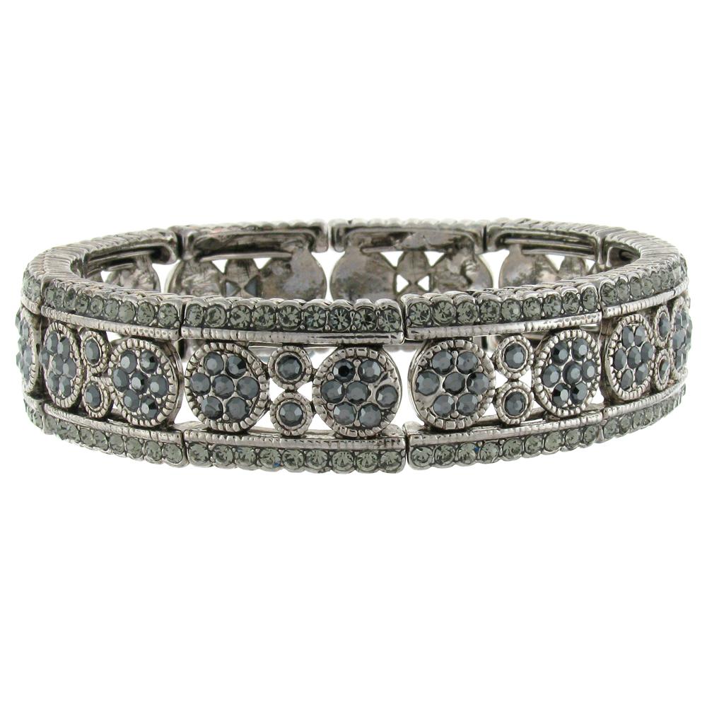 silver amp black diamond crystal filigree circles cuff
